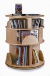 Three-Shelf Birch Laminate Multimedia Carousel [WB0503R-FS-WBR]