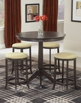 Tiburon 5 Piece Pub Set with Round Wood Table and 4 Backless Stools - Espresso [4917-845-FS-HILL]