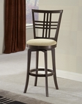 Tiburon II Wood 25'' Counter Height Stool with Ivory Upholstered Swivel Seat - Espresso [4917-826-FS-HILL]