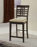 Tiburon Wood 24'' Counter Height Stool with Ivory Upholstered Seat - Set of 2 - Espresso [4917-806-FS-HILL]