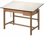 Titan II Solid Oak Drafting Table - 37.5''D x 60''W [WLB60-FS-ALV]