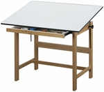 Titan Solid Oak Table Oak Finish - 31''D x 42''W [WTB42-FS-ALV]