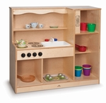 Toddler Kitchen Combo with Wide Open Shelves and No Doors [WB0782-FS-WBR]