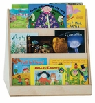 Tot Size 2-Sided Book Display with 3 Shelves on Each Side - Assembled - 24''W x 21''D x 25''H [32200-WDD]