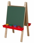 Tot Size Double Chalkboard Easel with Trays on Each Side - 20''W x 24''D x 36''H [17500-WDD]
