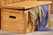 Rustic Style 34''W x 22''D Solid Pine Toy Chest - Cinnamon