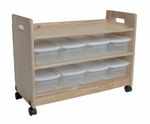 American Made Mobile 3 Shelf Toy Organizer with 8 Lidded Bins - Unfinished [069-UNF-FS-LC]