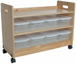 Mobile Wooden 34''W x 23''H Toy Organizer with 8 Plastic Bins and Casters [69-FS-LC]