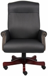 Traditional CaressoftPlus Box Arm Executive Chair with Nail Head Trim - Black [B970-FS-BOSS]