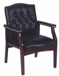 Traditional Button Tufted Caressoft™ Guest Chair - Black [B959-BK-FS-BOSS]