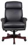 Traditional High Back Top Grain Leather Executive Chair - Black [B850-BK-FS-BOSS]