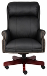 Traditional High Back CaressoftPlus&#8482 Chair with Nail Head Trim - Black [B980-CP-FS-BOSS]