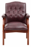 Traditional Button Tufted Leather Guest Chair - Burgundy [B969-BY-FS-BOSS]
