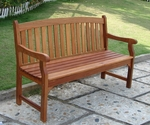5' Outdoor Arched Full Vertical Slat Back Bench with Arms and Contour Seat [V275-FS-VIF]