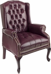 Work Smart Traditional Button Tufted Vinyl Queen Anne Style Chair with Mahogany Finish Legs - Oxblood [TEX234-JT4-FS-OS]
