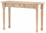 Traditional Solid Parawood 16''W X 30''H Sofa Table With Drawer - Unfinished [BJ7S-FS-WHT]