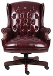 Traditional Button Tufted Wing Back Executive Chair - Oxblood Vinyl [B800-BY-FS-BOSS]