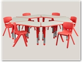 Trapezoid Preschool Table and Chair Sets