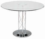 Trave-B Tempered Glass 42'' Diameter Dining Table - Clear and Chrome [08042G-08023D-08020C-FS-ERS]