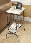 Travertine Magazine Metal End Table [605813-FS-DCON]