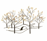 Bronze Oil Rubbed Metal Tree Lined Street 24''H Wall Sculpture - Cream [2158-FS-PAS]