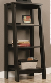 Trestle 19 5 W X 42 H Wooden 3 Shelf Ladder Bookcase With Angled Front Jamocha 414565 Fs Srta