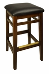 Trevor Walnut Wood Backless Barstool - Black Vinyl Seat [LWB680WABLV-BFMS]