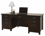 kathy ireland Home™ Tribeca Loft Collection 68.25''W x 29''H Double Pedestal Executive Desk - Midnight Smoke Black [TL680-FS-KIMF]