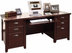 kathy ireland Home™ Tribeca Loft Collection 68.25''W x 29''H Double Pedestal Executive Desk - Burnt Umber Cherry [TLC680-FS-KIMF]