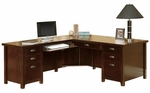 kathy ireland Home™ Tribeca Loft Collection L Shaped Workstation with Left Return - Burnt Umber Cherry [TLC684L-TLC684L-R-FS-KIMF]