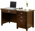 kathy ireland Home™ Tribeca Loft Collection 52''W x 29''H Single Pedestal Desk - Burnt Umber Cherry [TLC540-FS-KIMF]