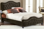 Trieste Upholstered Bed Set with Rails and Nail Head Trim - King - Chocolate [1554BKRT-FS-HILL]