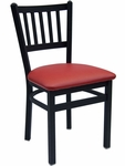 Troy Metal Slat Back Chair - Black Vinyl Seat [2090CBLV-SB-BFMS]