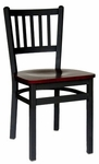 Troy Metal Slat Back Chair - Black Wood Seat [2090CBLW-SB-BFMS]