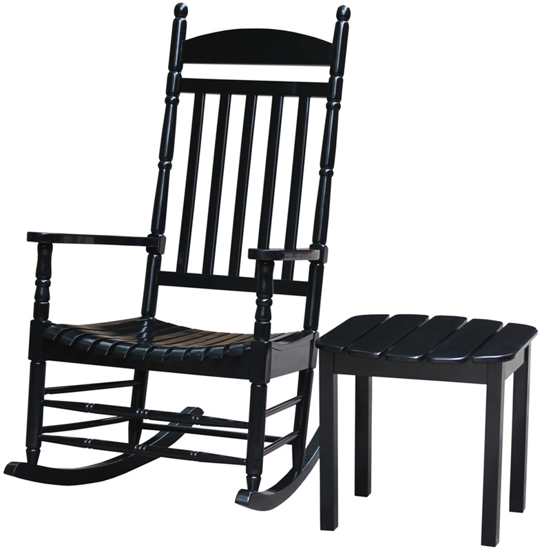 Outdoor Solid Wood 2 Piece 47 H Turned Post Porch Rocking Chair with