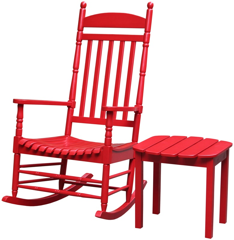 Outdoor Solid Wood 2 Piece 47 H Turned Post Porch Rocking Chair With 18 H Side Table Red K