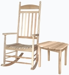 Outdoor Solid Wood 2 Piece 47''H Turned Post Porch Rocking Chair with 18''H Side Table - Unfinished [K-54209-T519-FS-WHT]