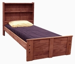 Rustic Style Solid Pine Bed with Bookcase Headboard - Twin - Mahogany Stain [31340-FS-CHEL]