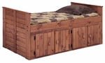 Twin Bed with 4 Door Storage - Mahogany Stain [31942-F-FS-CHEL]
