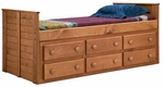 Twin Bed with 6 Drawers - Mahogany Stain [31942-FS-CHEL]