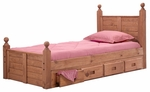 Rustic Style Solid Pine Post Panel Bed with Storage - Twin - Mahogany Stain [31349-411-FS-CHEL]