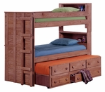 Twin Bookcase Bunk Bed with Twin Trundle Unit - Mahogany Stain [312055-FS-CHEL]
