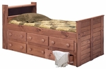 Twin Bookcase Captain Bed with 6 Drawers - Mahogany Stain [31346-FS-CHEL]