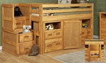 Rustic Style Solid Pine Junior Loft Bed with Stairway Chest and Storage - Twin - Cinnamon [3544136-4139-FS-CHEL]