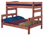 Rustic Style Solid Pine Bunk Bed - Twin Over Full - Mahogany Stain [312006-FS-CHEL]