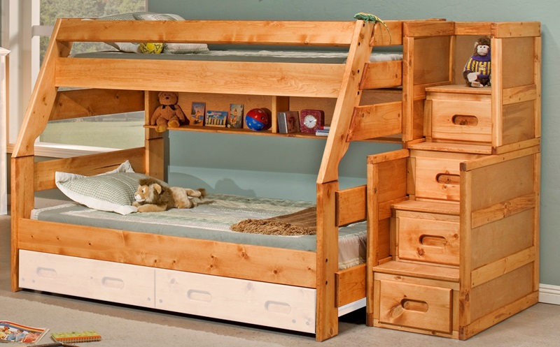 Rustic Style Solid Pine Bunk Bed with Stairway Chest