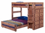 Twin Over Full Loft Bed with 10 Drawer Chest - Mahogany Stain [315030-FS-CHEL]