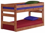 Rustic Style Solid Pine Junior Bunk Bed - Twin Over Twin - Mahogany Stain [312005-FS-CHEL]
