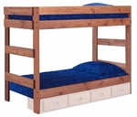 Rustic Style Solid Pine 1 Piece Bunk Bed - Twin Over Twin - Mahogany Stain [312001-411-FS-CHEL]