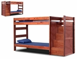 Rustic Style Solid Pine Staircase Bunk Bed - Twin Over Twin - Mahogany Stain [31123-FS-CHEL]